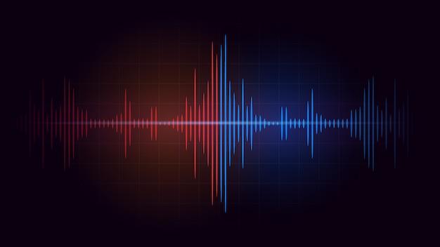 赤い音波の周波数と暗い背景の青の間の戦い。音楽とオーディオについての抽象的なイラスト。 Premiumベクター