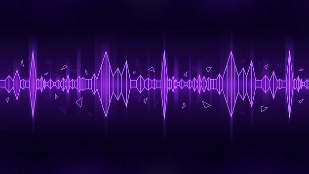 暗い背景に紫をテーマにした音波の多角形スタイル Premiumベクター