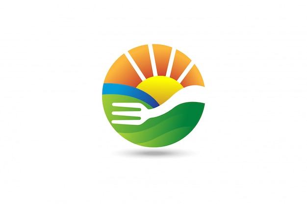 フォーク農業の風景のロゴ Premiumベクター