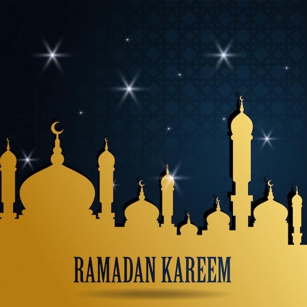 モスクと夜空のラマダンカリーム挨拶イスラムデザイン Premiumベクター