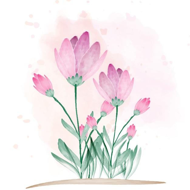 カラーブラシで美しい花 Premiumベクター
