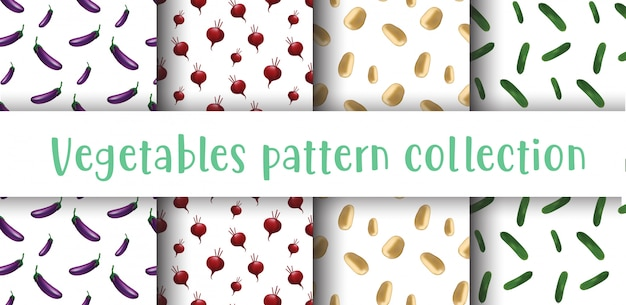 野菜のシームレスなパターンのコレクション。 Premiumベクター
