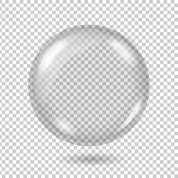 現実的な透明なガラス玉または格子縞の背景に影付きの球。 Premiumベクター