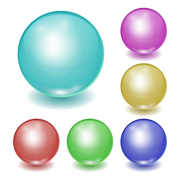 現実的な色のプラスチックボールのセットは、パッチで球を輝き Premiumベクター