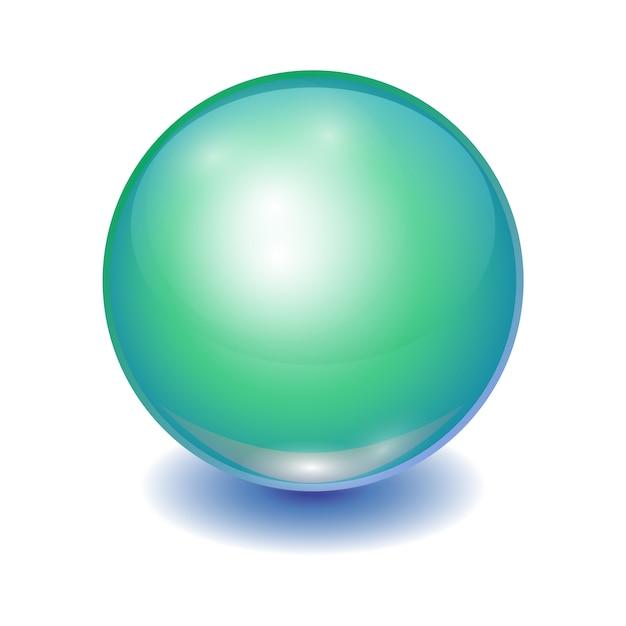 現実的な緑の多色ボール、輝き球パッチ Premiumベクター