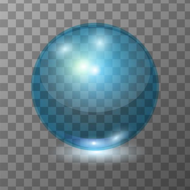 リアルな青い透明ガラス玉、輝き球またはスープの泡 Premiumベクター