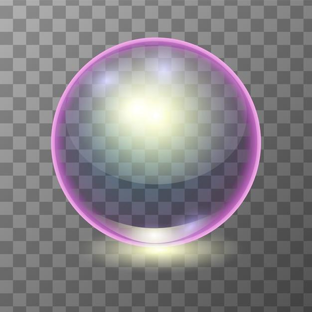 現実的な多色透明なガラス玉、輝き球または泡 Premiumベクター