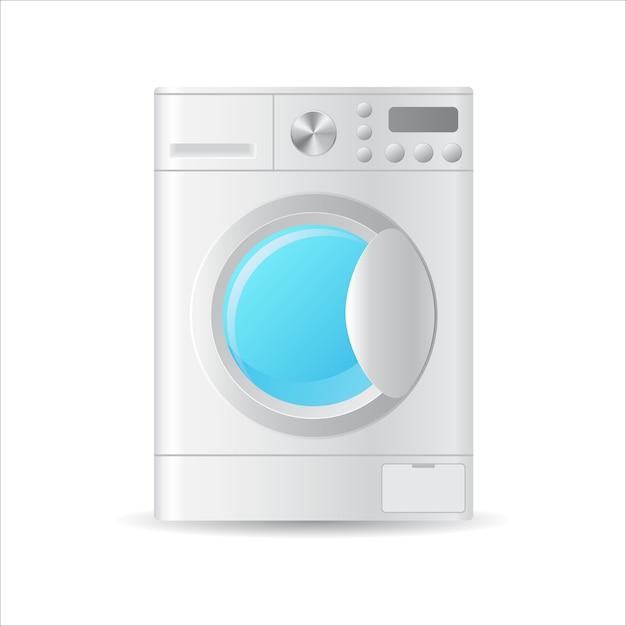 自動洗濯機、白で隔離 Premiumベクター