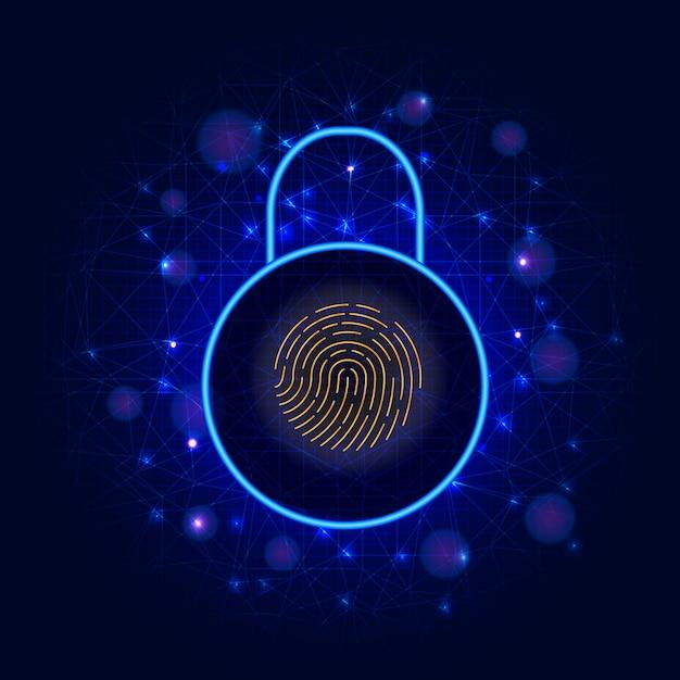サイバーセキュリティ。デジタルデータ保護、南京錠、セキュアアクセスバイオメトリック指紋スキャナ Premiumベクター