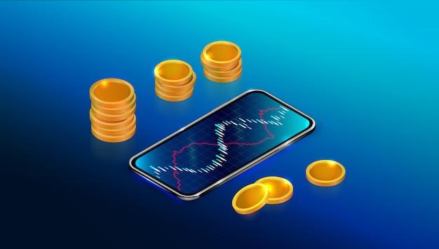 Фондовый рынок или возврат инвестиций с помощью мобильного приложения. Premium векторы