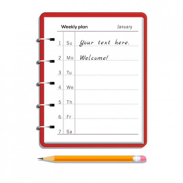 毎週の計画ノートとテキストと白で隔離消しゴム付きの鉛筆 Premiumベクター