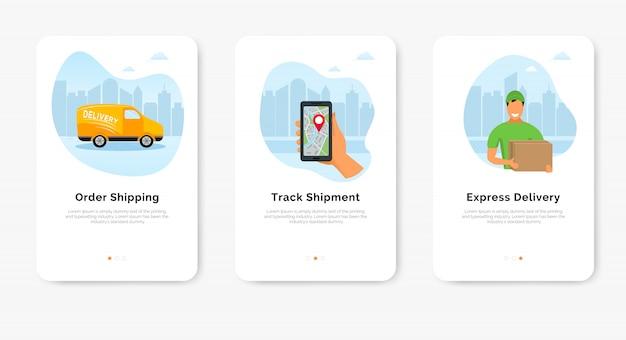 Заказать экспресс-доставку через интернет баннер. смартфон с мобильным приложением для отслеживания доставки, доставщик и фургон Premium векторы