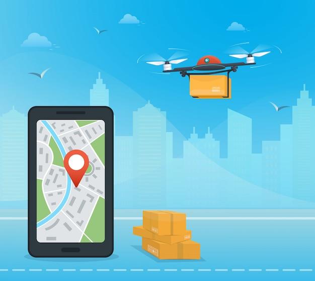 ドローン配送サービス、都市に対するパッケージ、ドローン出荷追跡用モバイルアプリ付きスマートフォン Premiumベクター