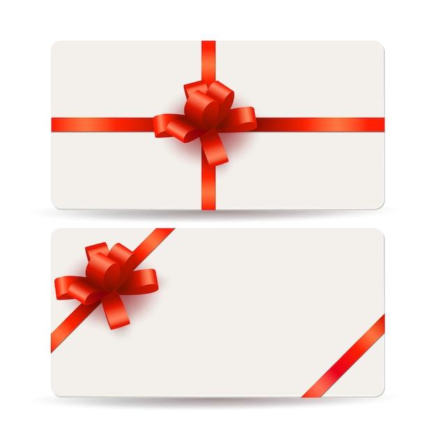 Пустой шаблон подарочных карт с красными бантами и лентами Premium векторы