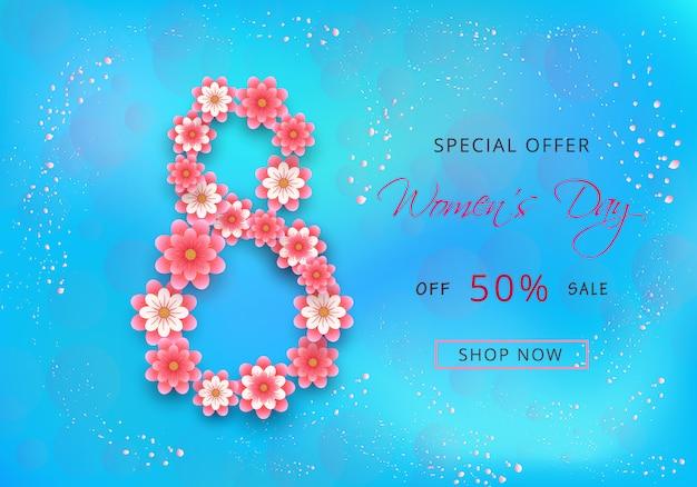 Счастливый женский день продажи предложение дизайн карты с розовыми цветами вырезанные из бумаги Premium векторы