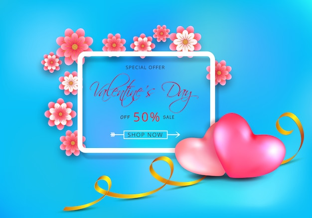 バレンタインデーの紙カットピンクの花と青の心の販売割引バナー Premiumベクター
