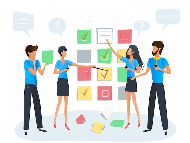 アジャイルスクラムタスクボード計画、ワークショップトレーニングを伴うプロジェクトに取り組んでいるビジネス人々のチーム Premiumベクター