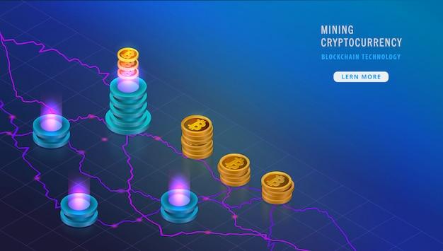 Изометрическая криптовалютная концепция маркерной цепи, биткойны Premium векторы
