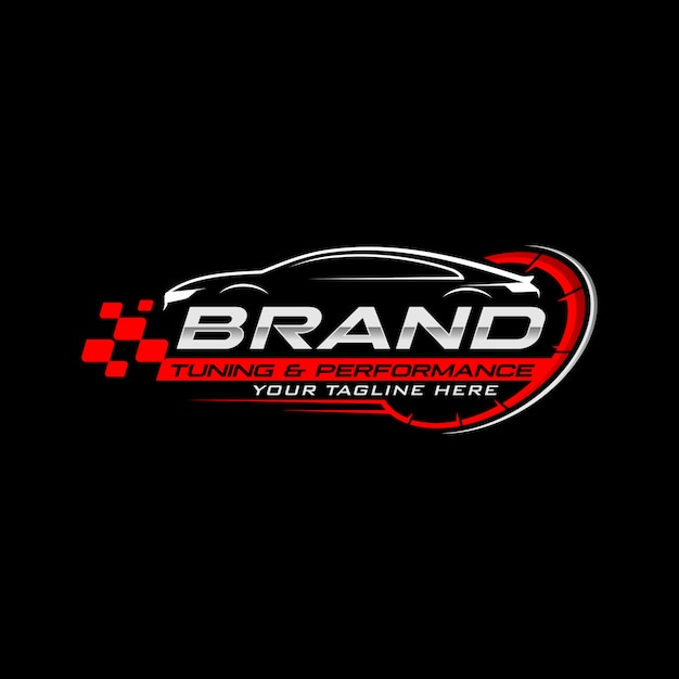 カーレースのロゴ Premiumベクター