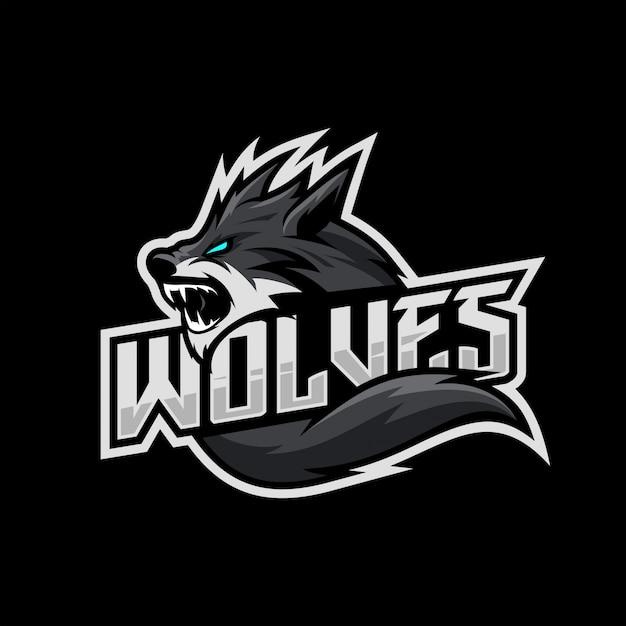 Волки киберспорт логотип Premium векторы