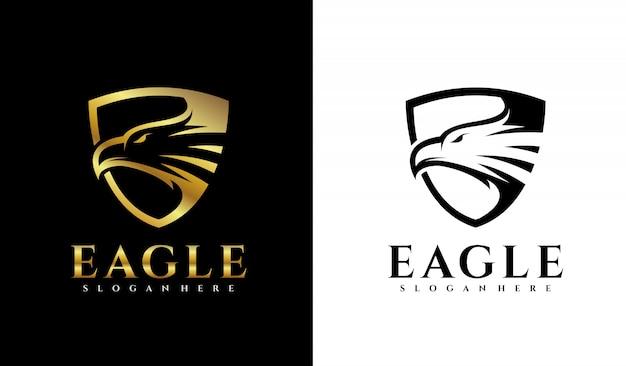 Щит орла с логотипом Premium векторы