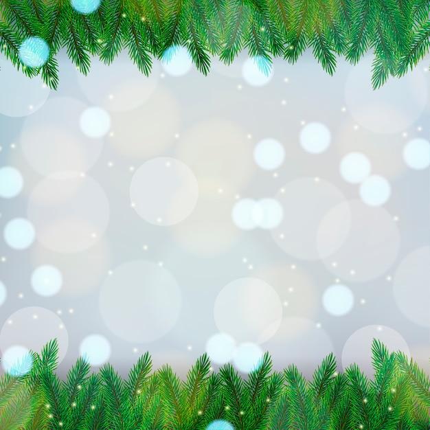 Рождественский фон с еловыми ветками на боке Premium векторы