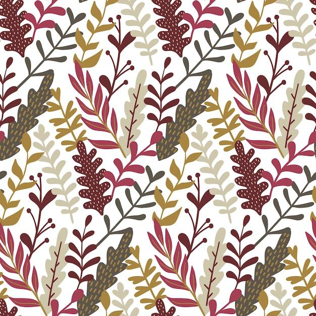 手描きの葉で現代のシームレスなパターン。 Premiumベクター