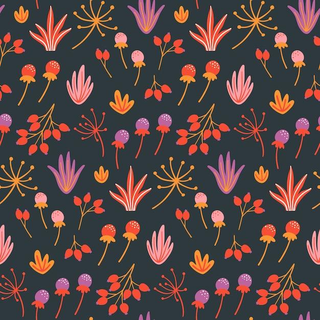 花、葉、ハーブとシームレスな花柄。 Premiumベクター