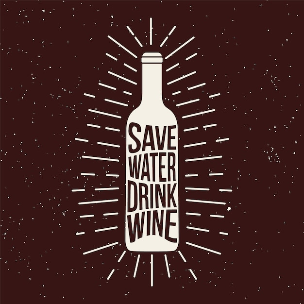 ワインボトルグランジプリント。 Premiumベクター