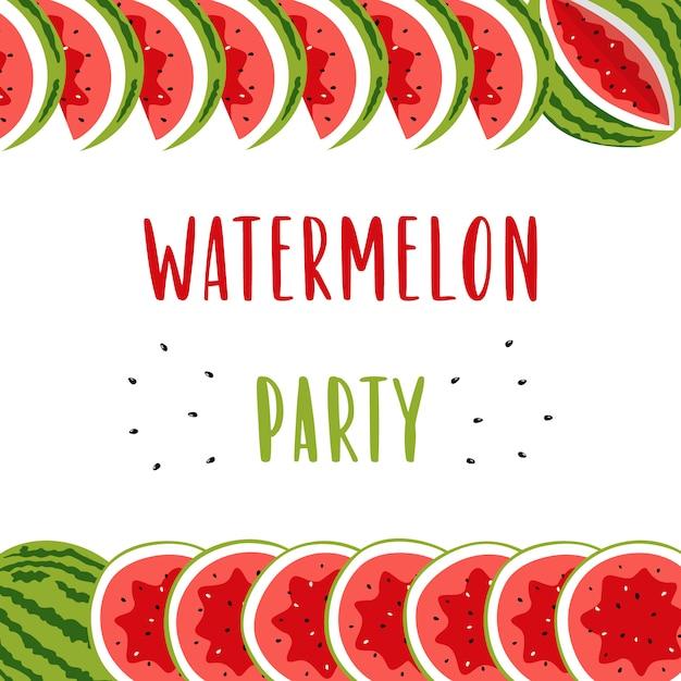 Приглашение баннер для летней вечеринки с милый арбуз. Premium векторы