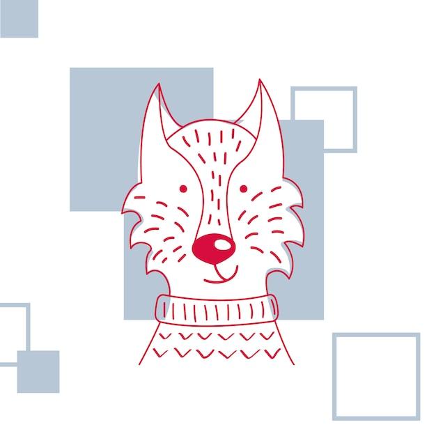 Векторная иллюстрация милый волк свитер. Premium векторы
