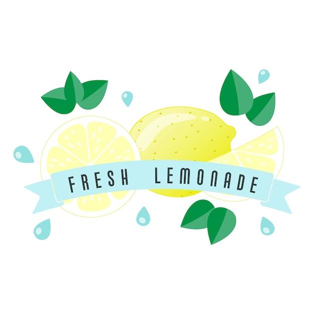 Лимонная фруктовая этикетка и баннер Premium векторы
