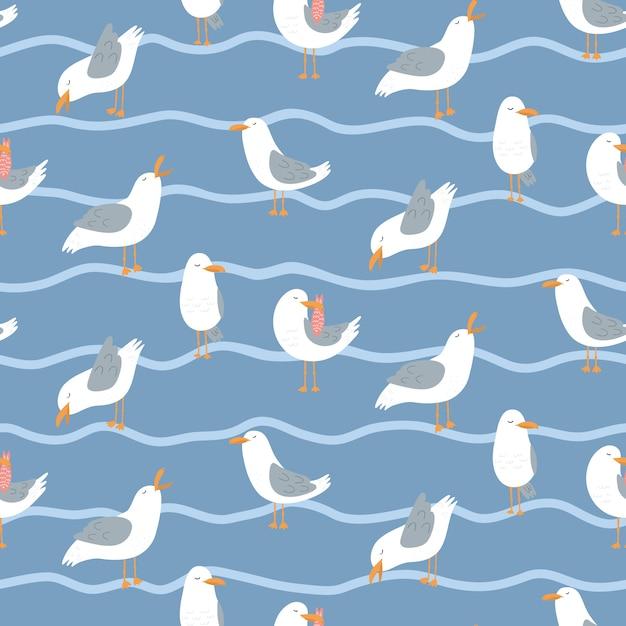 Бесшовный фон с чайками и волнами. Premium векторы