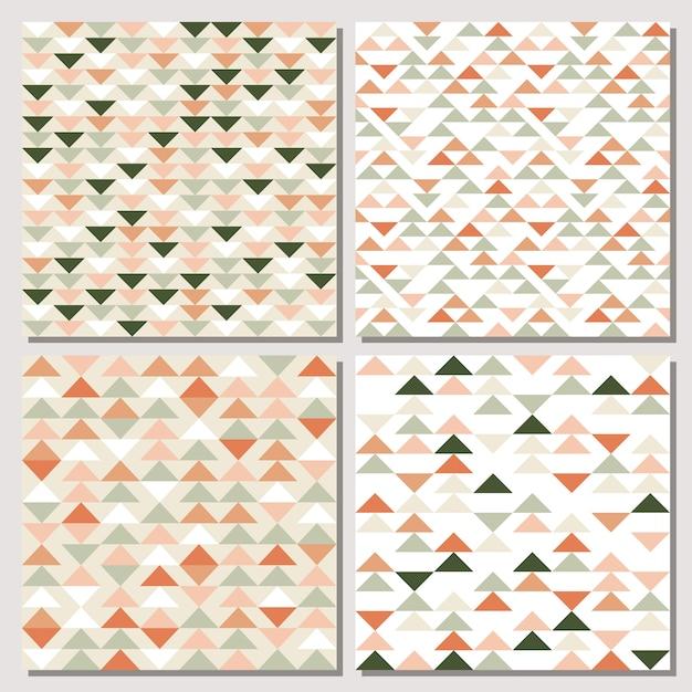 三角形のシームレスパターンのセットです。 Premiumベクター