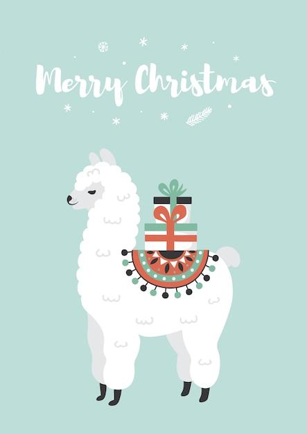メリークリスマスのグリーティングカード。ギフトボックス付きのかわいいラマ。 Premiumベクター