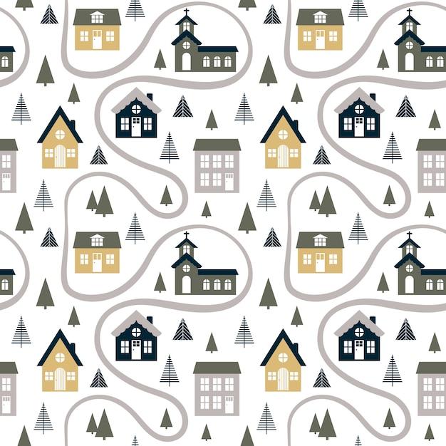 Абстрактная безшовная картина с милыми домами, деревьями и дорогой. Premium векторы