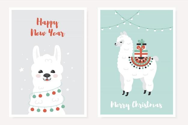 かわいいラマ入りメリークリスマスの挨拶ポスター。 Premiumベクター