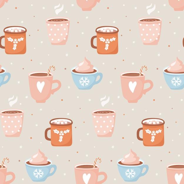 Ручной обращается чашки с какао и зефира бесшовные модели. Premium векторы