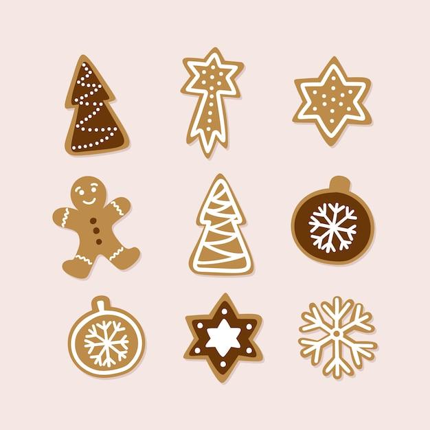 伝統的なクリスマスクッキーの手描きのコレクション。 Premiumベクター