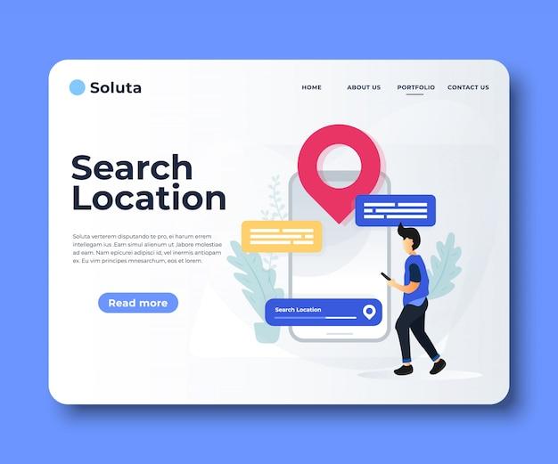 Навигационное приложение с картой и указанием местоположения целевой страницы. Premium векторы