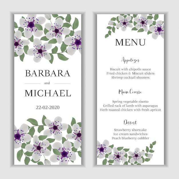 桜の花束と花の結婚式のメニューカード Premiumベクター