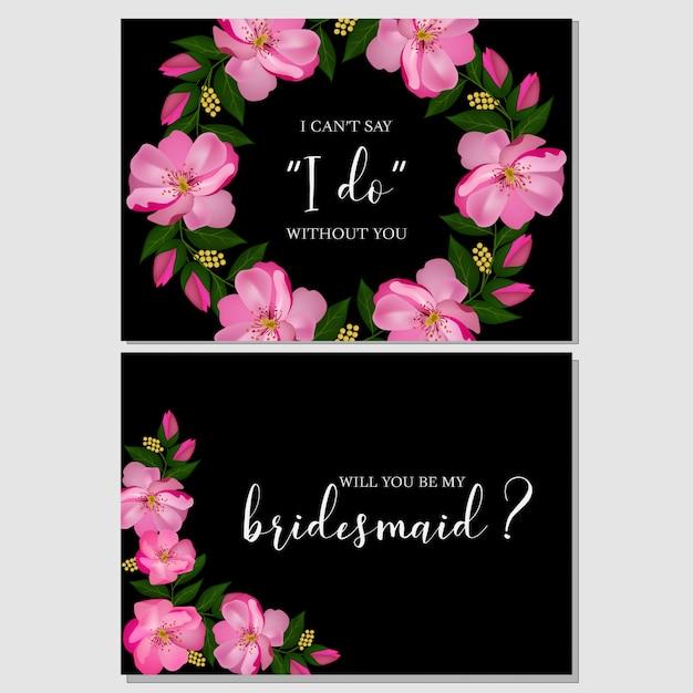 ピンクの花の花嫁介添人グリーティングカード Premiumベクター