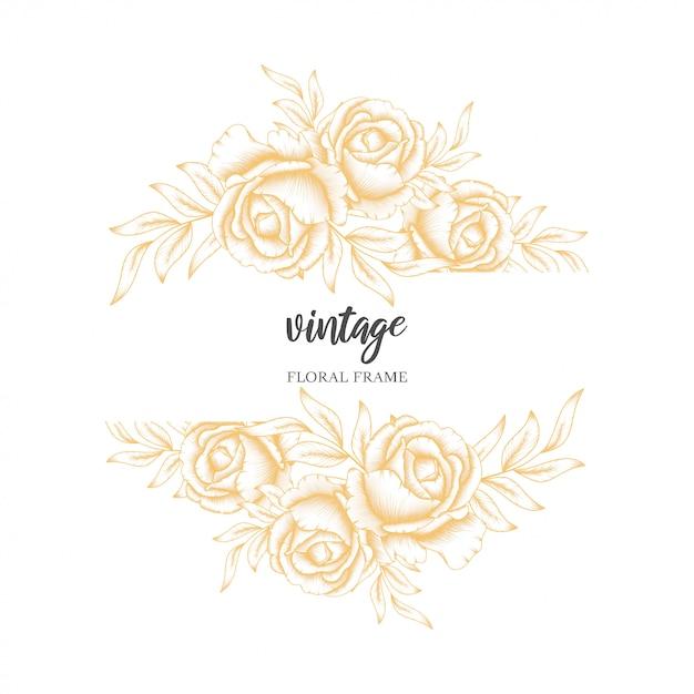 ゴールデンビンテージローズの花のフレーム Premiumベクター