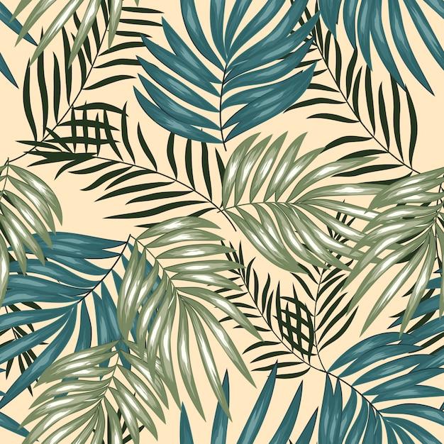 熱帯のヤシの葉のシームレスパターン Premiumベクター