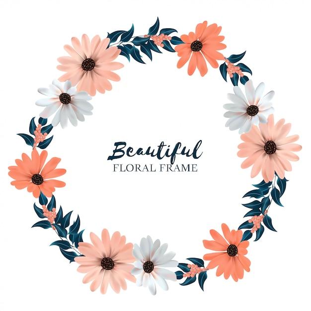 美しい花の花輪の境界線 Premiumベクター