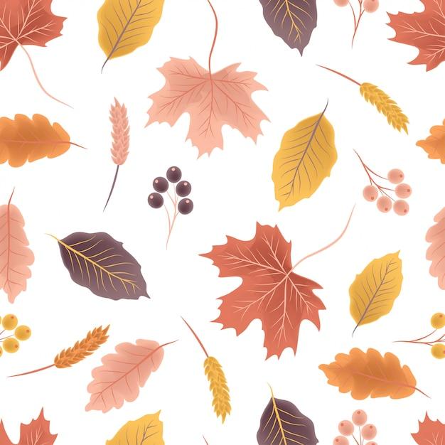 カラフルな秋のシームレスパターン Premiumベクター