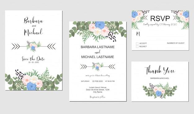 Набор свадебного приглашения шаблона с букетом пастельных цветов и зелени Premium векторы