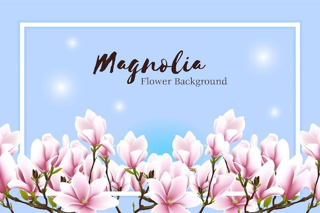 Красивая магнолия цветочная рамка Premium векторы