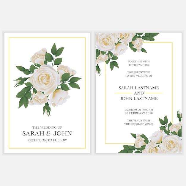 Свадебное приглашение с букетом белых роз Premium векторы