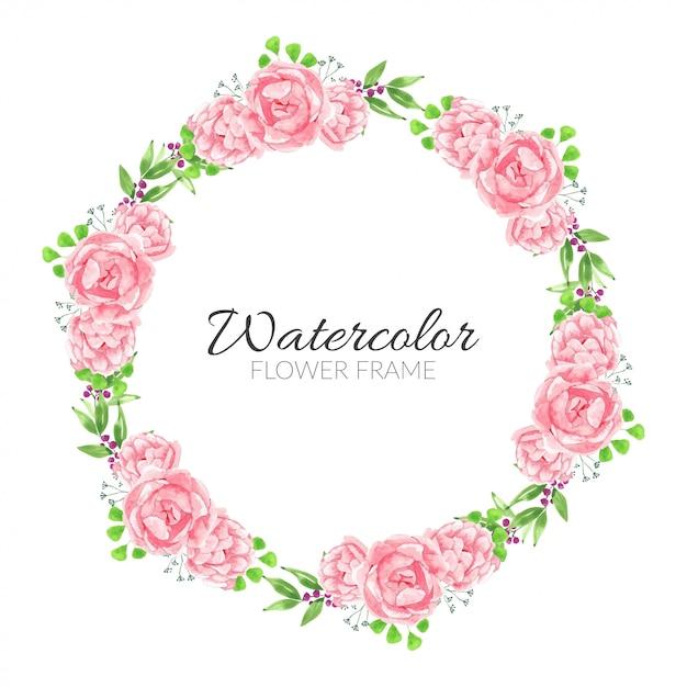Акварель розовый пион цветочная рамка круг Premium векторы